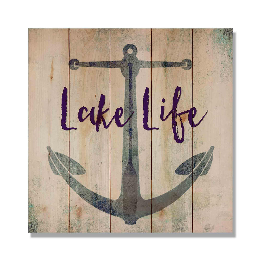 "Lake Life - 17x17"" Lake Cabin Welcome Sign"
