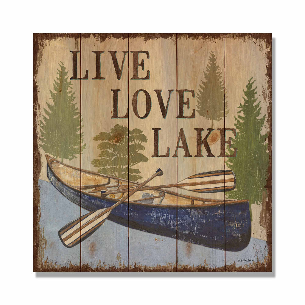 "Live Love Lake - 17x17"" Lake Cabin Welcome Sign"