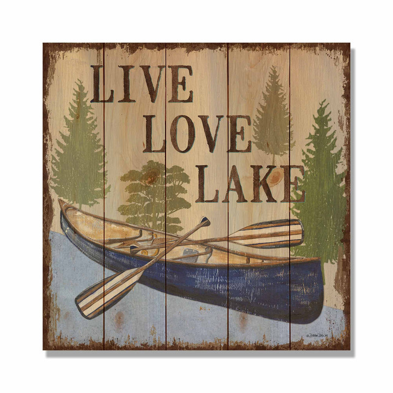 "Live Love Lake - 17x17"" Lake Cabin Welcome Sign DaydreamHQ Pine Wall Art 17x17"