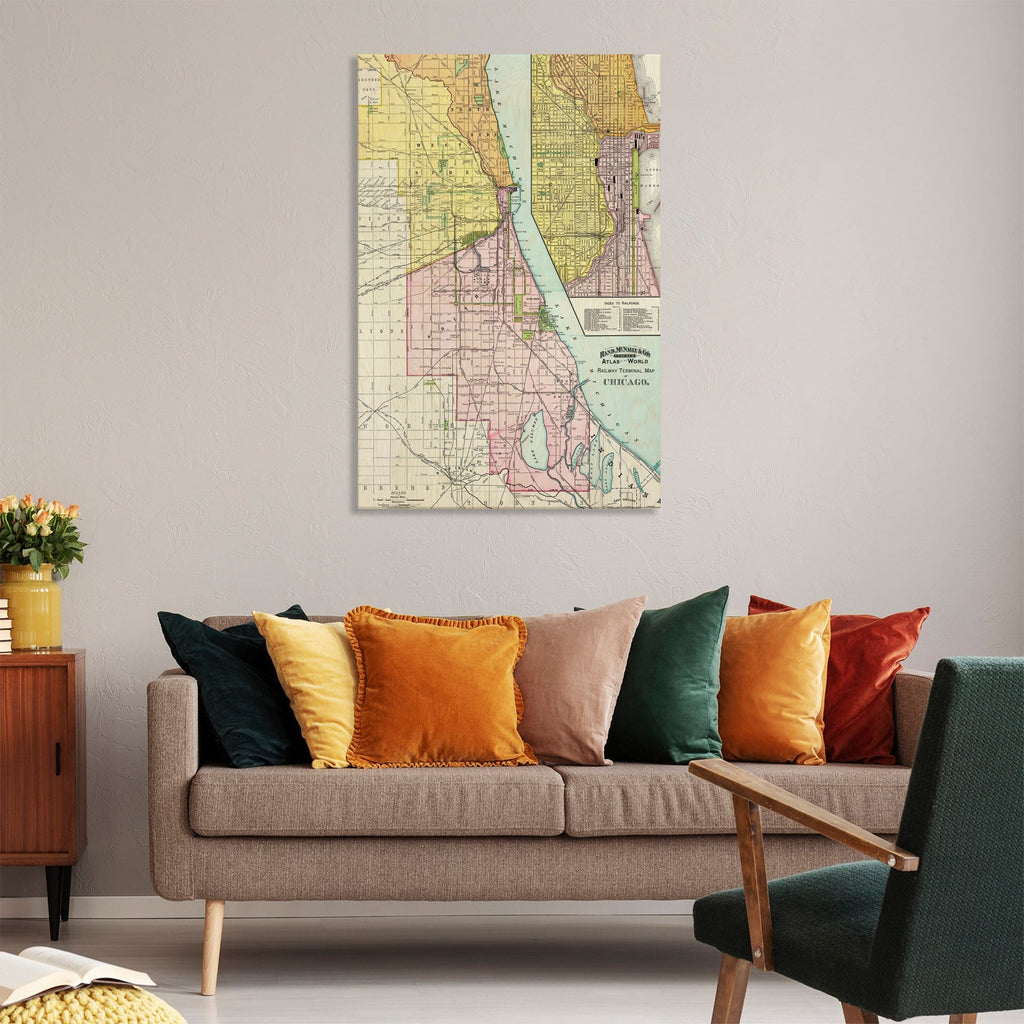 Chicago, Illinois Map from 1897 DaydreamHQ Grand Wood Wall Art 32x48