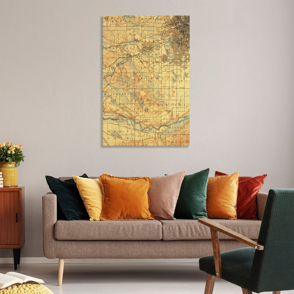 Minneapolis, Minnesota Map from 1896 DaydreamHQ Grand Wood Wall Art 32x48