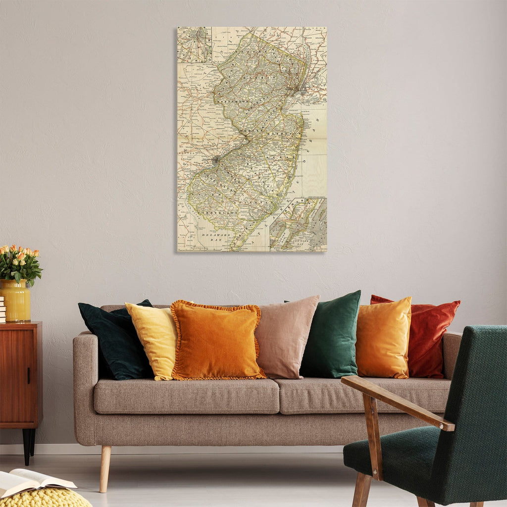 New Jersey Map from 1882 DaydreamHQ Grand Wood Wall Art 32x48
