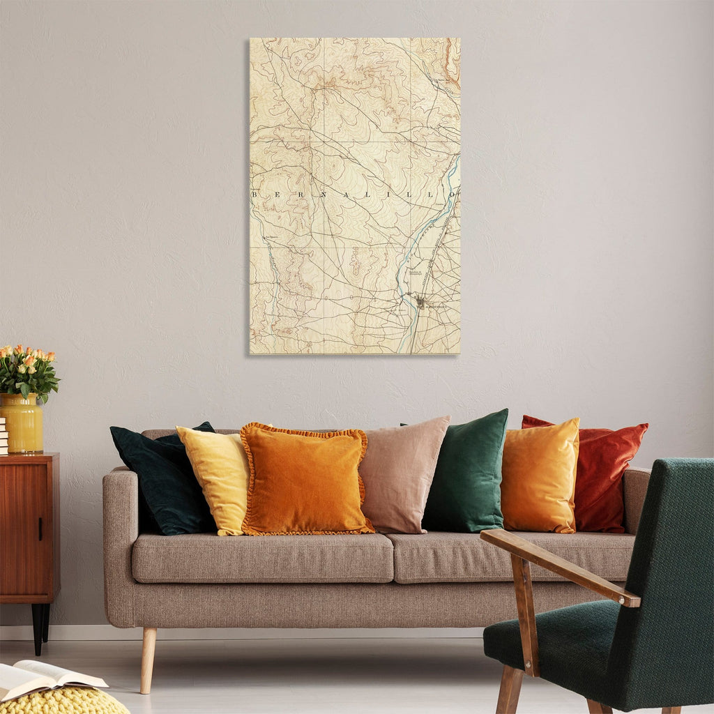 Albuquerque, New Mexico Map from 1893 DaydreamHQ Grand Wood Wall Art 32x48