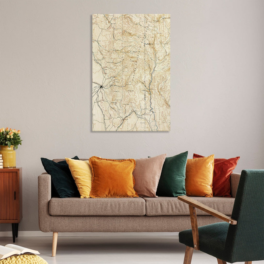 Santa Fe, New Mexico Map from 1889 DaydreamHQ Grand Wood Wall Art 32x48