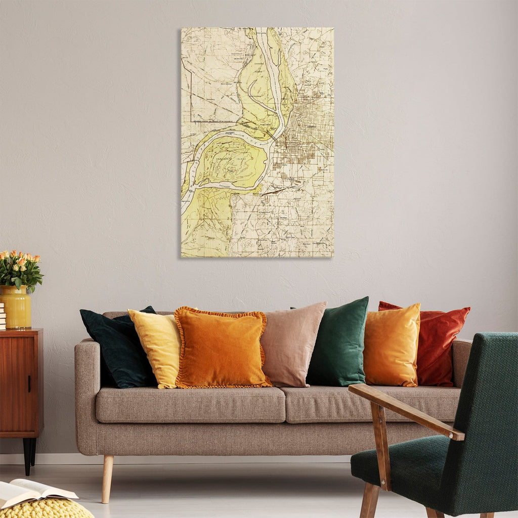 Memphis, Tennessee Map from 1925 DaydreamHQ Grand Wood Wall Art 32x48
