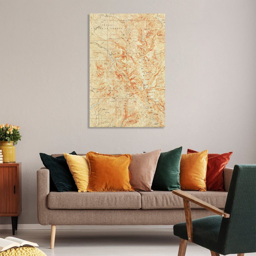 Wind River Range, Wyoming Map from 1909 DaydreamHQ Grand Wood Wall Art 32x48
