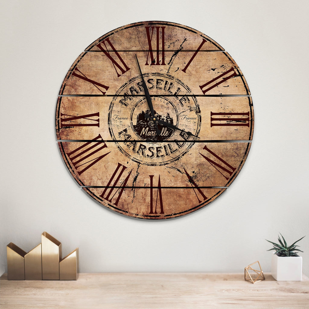 Marseille, France Wood Wall Clock- Indoor & Outdoor Decor Outside by Mike FenceEscape