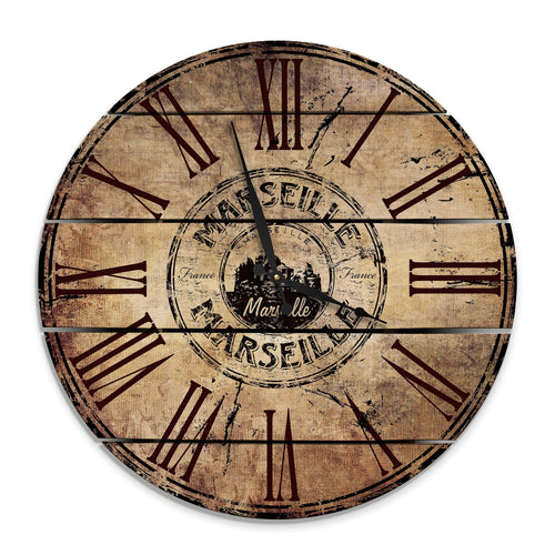 Marseille, France Wood Wall Clock- Indoor & Outdoor Decor Outside by Mike FenceEscape 24""