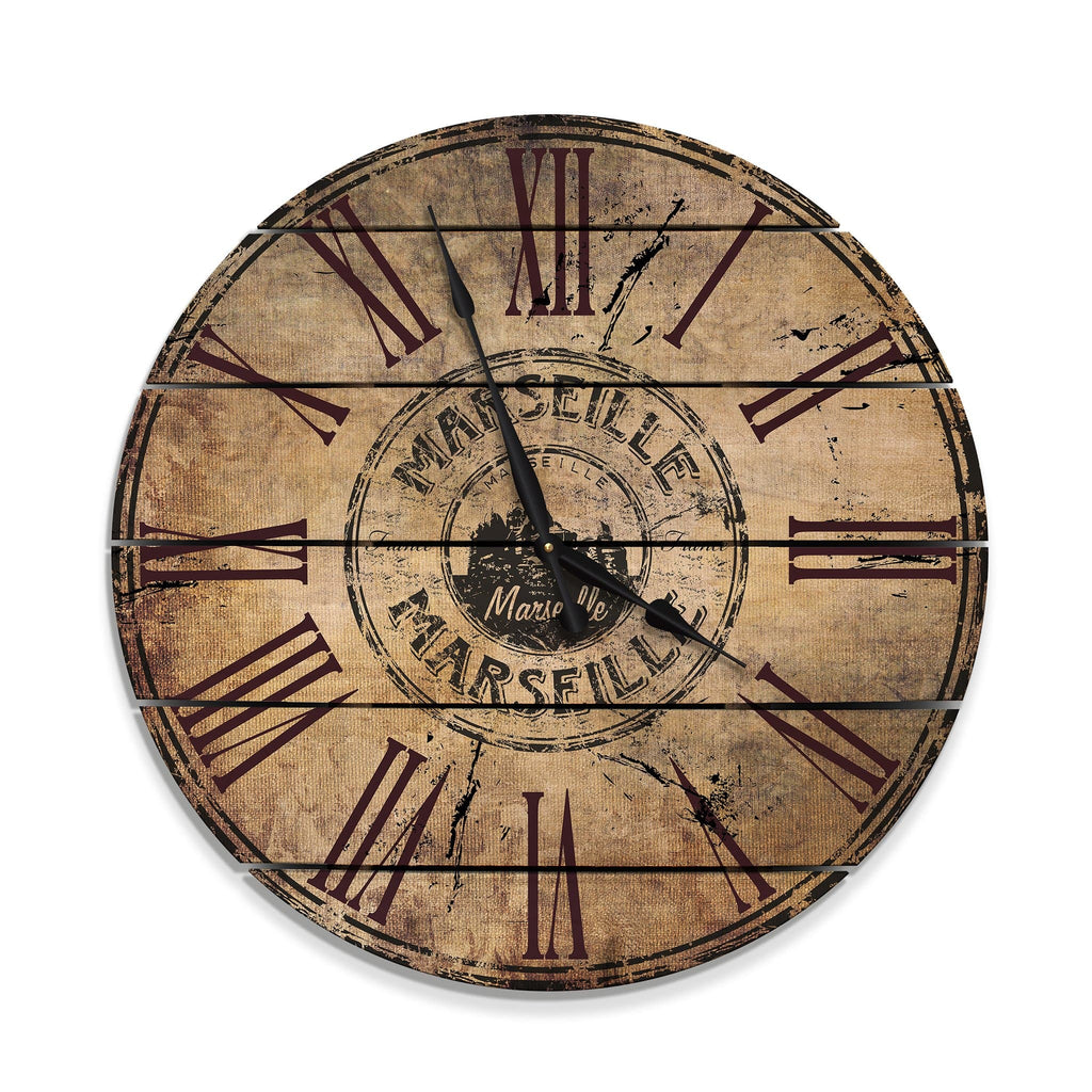 Marseille, France Wood Wall Clock- Indoor & Outdoor Decor DaydreamHQ FenceEscape 30""