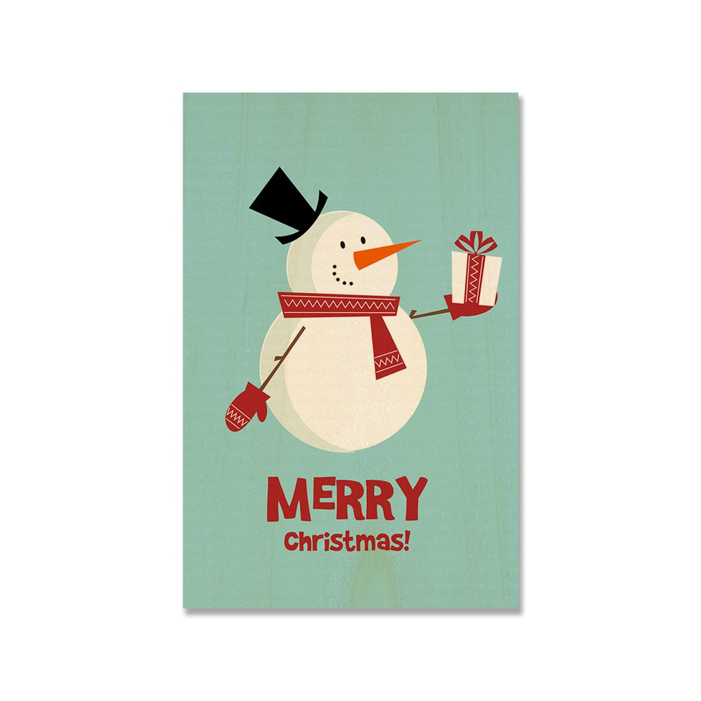 Merry Christmas Snowman - Mailable Wood Postcard - Single Image Multi Pack DaydreamHQ