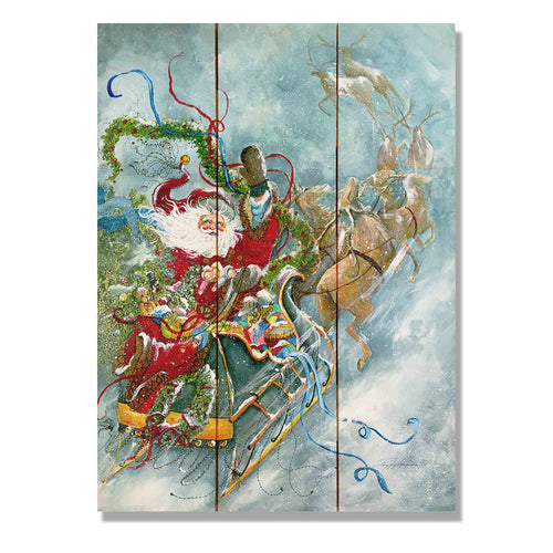 "Abrams' Fly Away Santa - Classic Pine Wood Artist Series DaydreamHQ Pine Wall Art 11""x15"""
