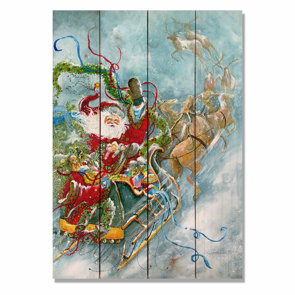 "Abrams' Fly Away Santa - Classic Pine Wood Artist Series DaydreamHQ Pine Wall Art 14""x20"""