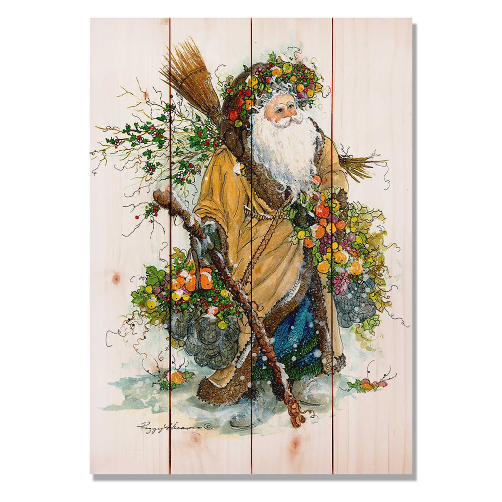 "Abrams' Fall Santa - Classic Pine Wood Artist Series DaydreamHQ Pine Wall Art 14""x20"""