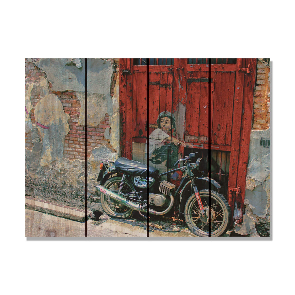 Painted Dreams - Motorcycle Wood Wall Art DaydreamHQ FenceEscape 22x16