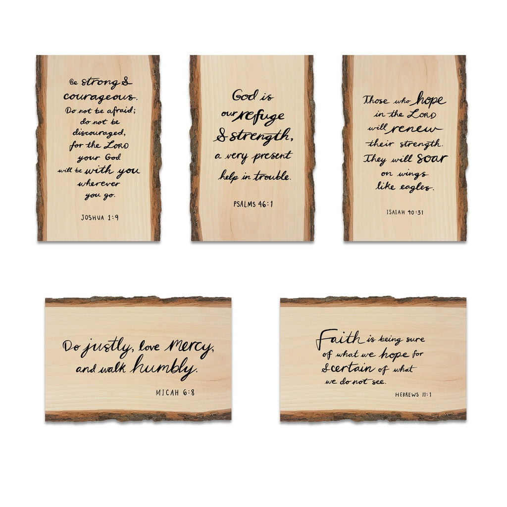 Scripture on Mailable Wood Live Edge Postcards - Variety 5 Pack Option 1 DaydreamHQ