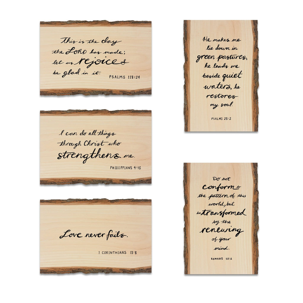 Scripture on Mailable Wood Live Edge Postcards - Variety 5 Pack Option 2 DaydreamHQ