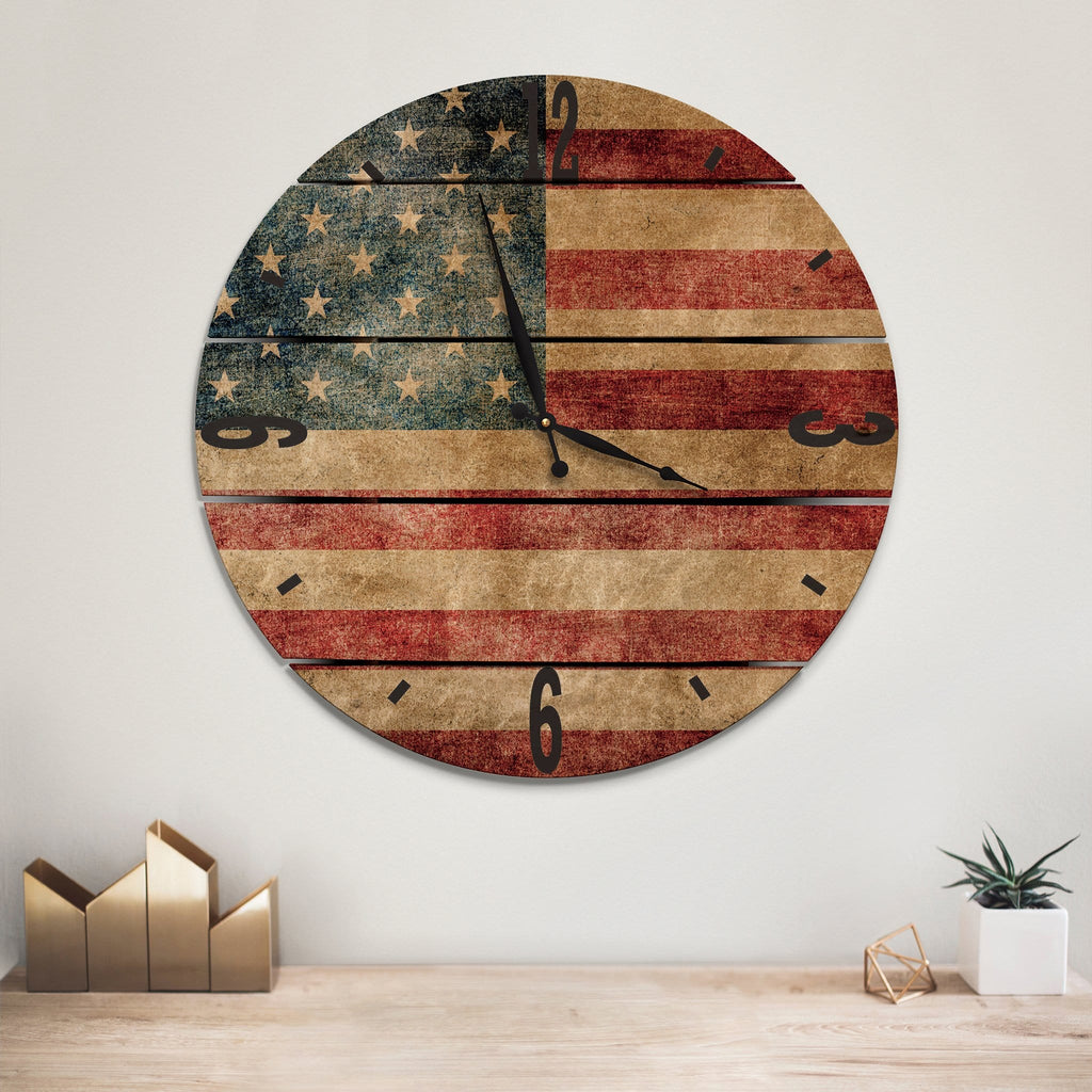 Rustic American Flag Wood Wall Clock- Indoor & Outdoor Decor Daydream HQ FenceEscape