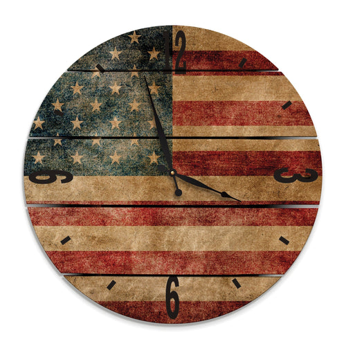 Rustic American Flag Wood Wall Clock- Indoor & Outdoor Decor Daydream HQ FenceEscape 24""