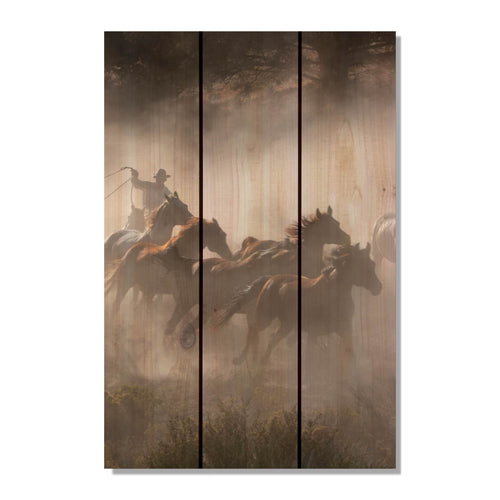 Raw Hide - Cowboy Wood Wall Art DaydreamHQ FenceEscape 16x24