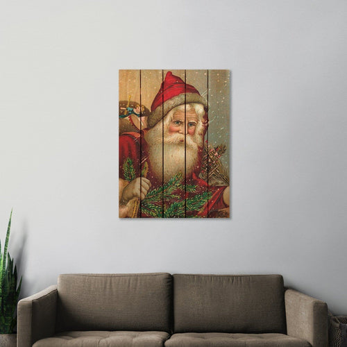 Red Hat Santa - Christmas Wood Wall Art DaydreamHQ FenceEscape