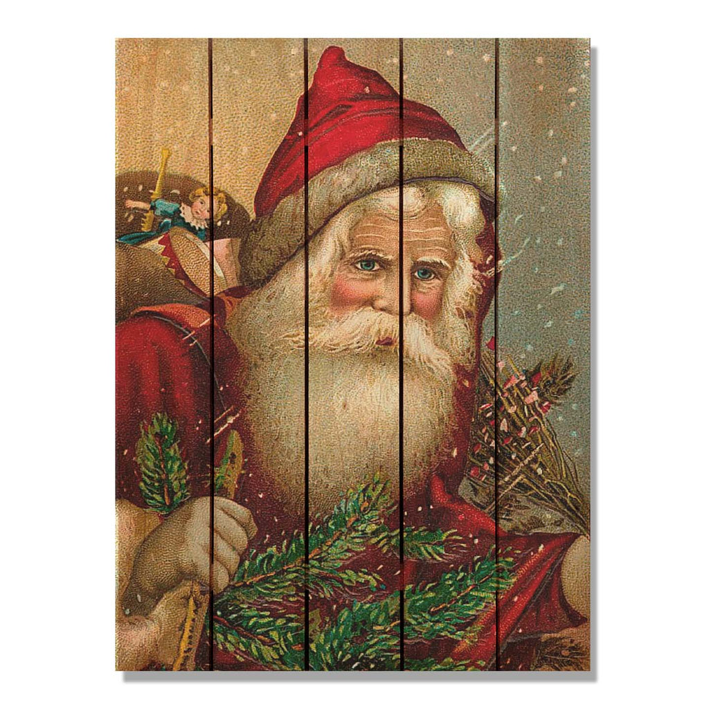 Red Hat Santa - Christmas Wood Wall Art DaydreamHQ FenceEscape 28x36