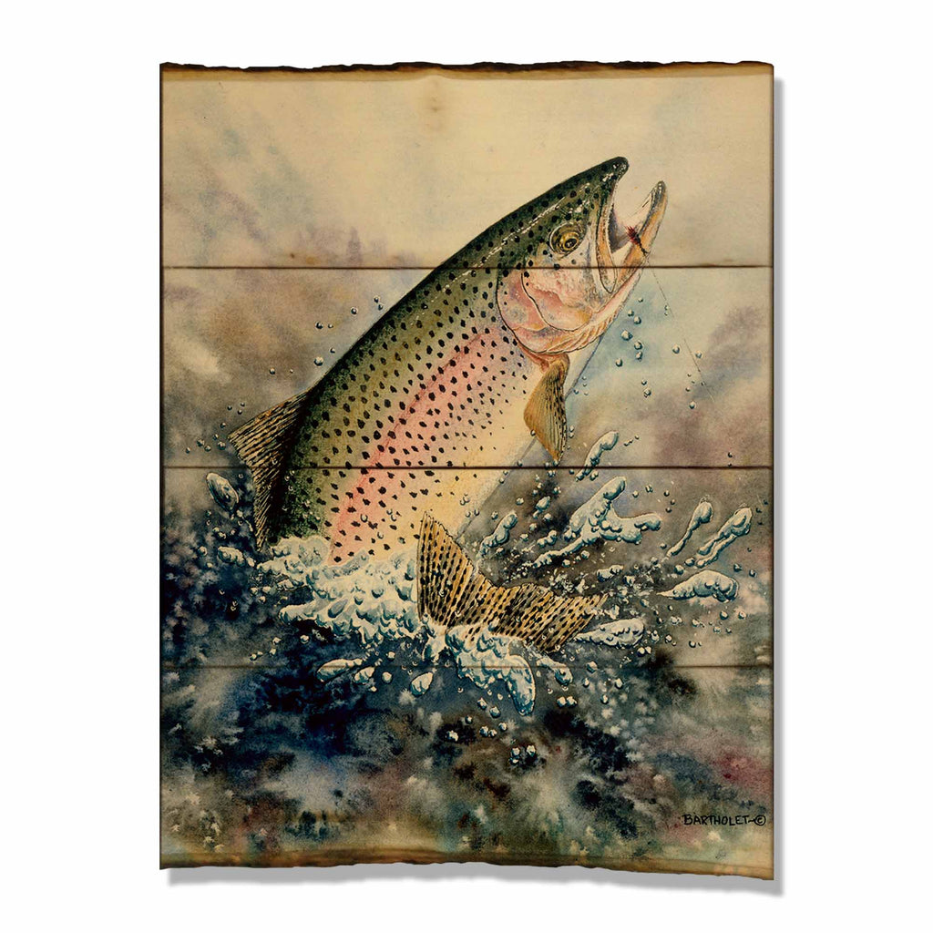 Rainbow Trout Fish On 15x21 on Live Edge Daydream HQ FenceEscape