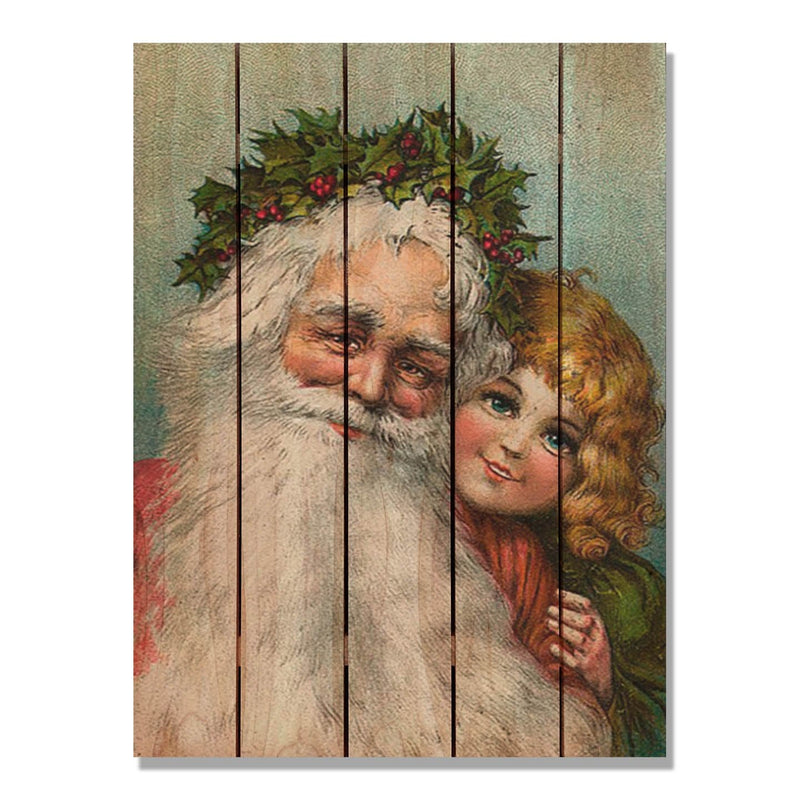 Kissing Kids - Christmas Wood Wall Art