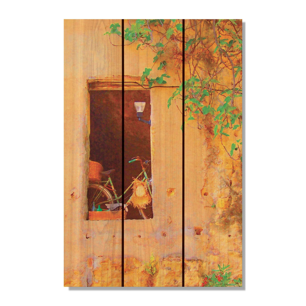"Summer Cycle - Yellow Bike Wood Wall Art DaydreamHQ FenceEscape 16""x24"""