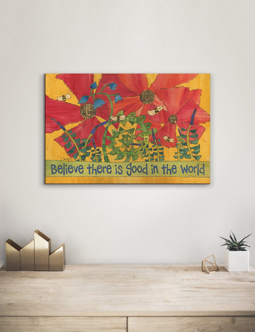 Solid Wood Wall Art - Painted Peace by Stephanie Burgess' Believe - 12x18 DaydreamHQ Pine Wall Art 12x18