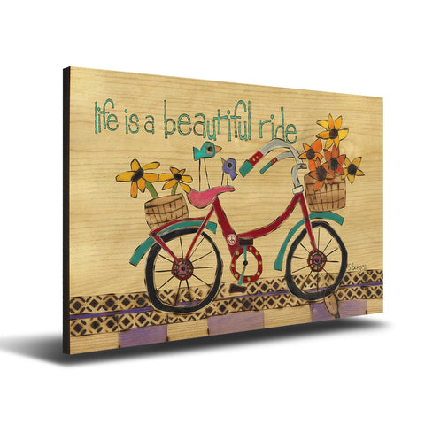 Solid Wood Wall Art - Painted Peace by Stephanie Burgess' Beautiful Ride - 12x18