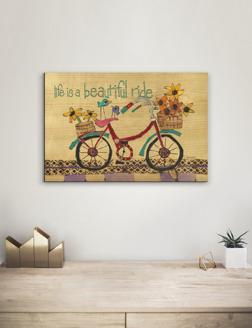 Solid Wood Wall Art - Painted Peace by Stephanie Burgess' Beautiful Ride - 12x18 DaydreamHQ Pine Wall Art 12x18