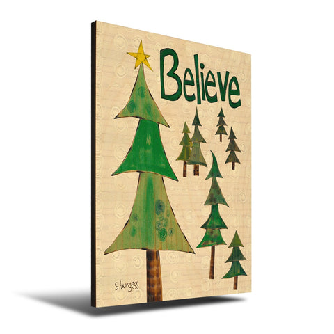 Solid Wood Wall Art - Painted Peace by Stephanie Burgess' Believe Trees - 12x18