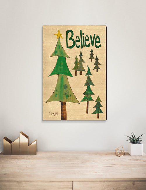 Solid Wood Wall Art - Painted Peace by Stephanie Burgess' Believe Trees - 12x18 DaydreamHQ Pine Wall Art 12x18