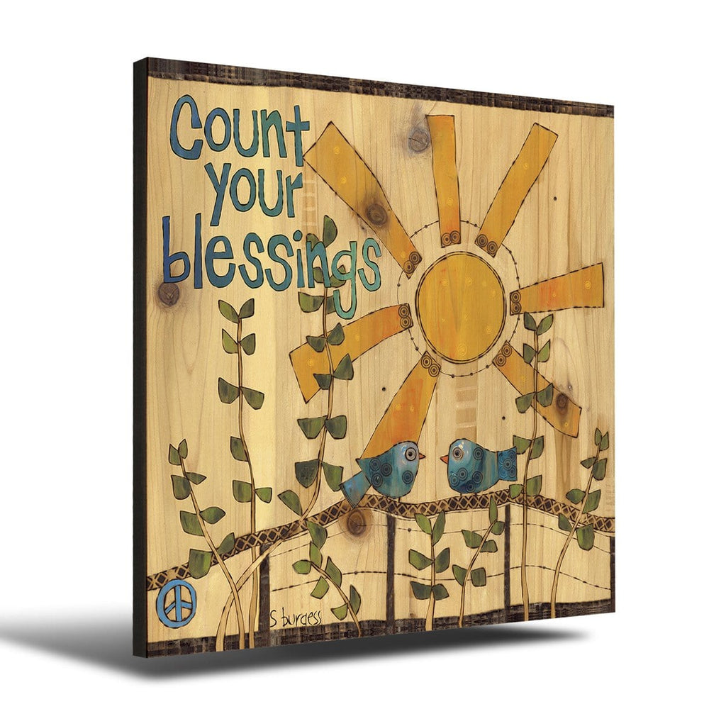 Solid Wood Wall Art - Painted Peace by Stephanie Burgess' Count Your Blessings - 12x12 DaydreamHQ Pine Wall Art 12x12