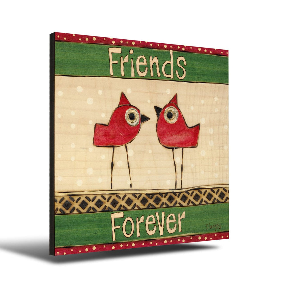 Solid Wood Wall Art - Painted Peace by Stephanie Burgess' Friends Forever - 12x12 DaydreamHQ Pine Wall Art 12x12