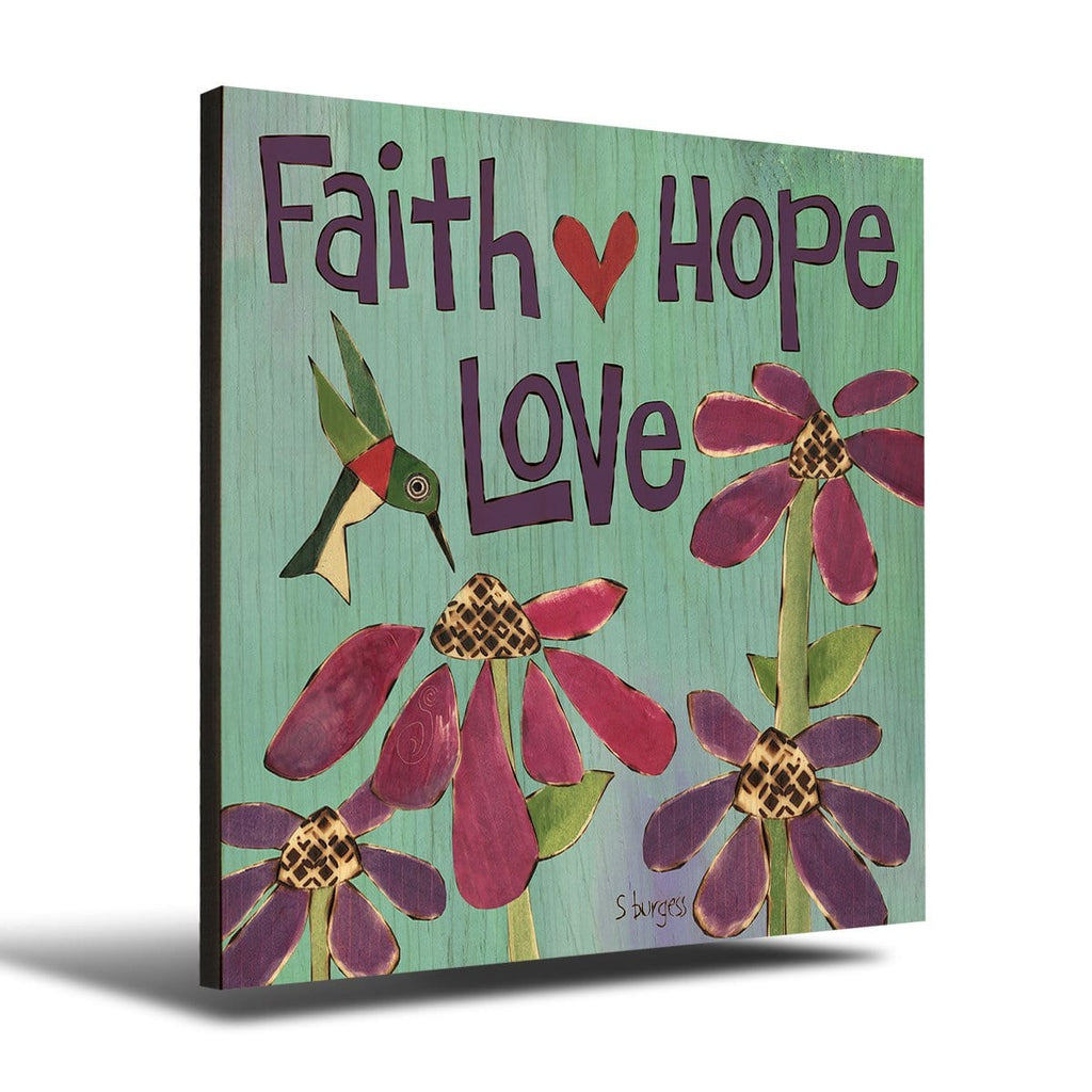 Solid Wood Wall Art - Painted Peace by Stephanie Burgess' Faith Hope - 12x12 DaydreamHQ Pine Wall Art 12x12