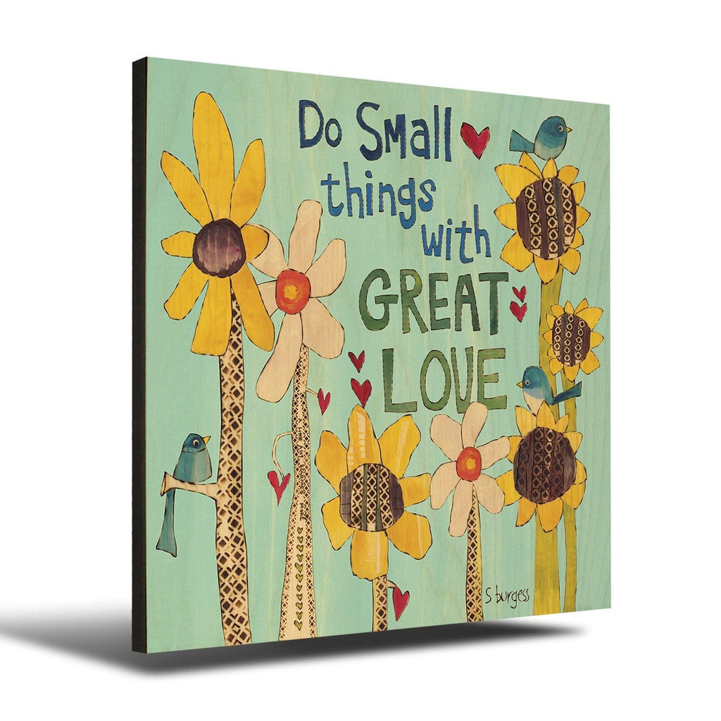 Solid Wood Wall Art - Painted Peace by Stephanie Burgess' Great Love - 12x12 DaydreamHQ Pine Wall Art 12x12