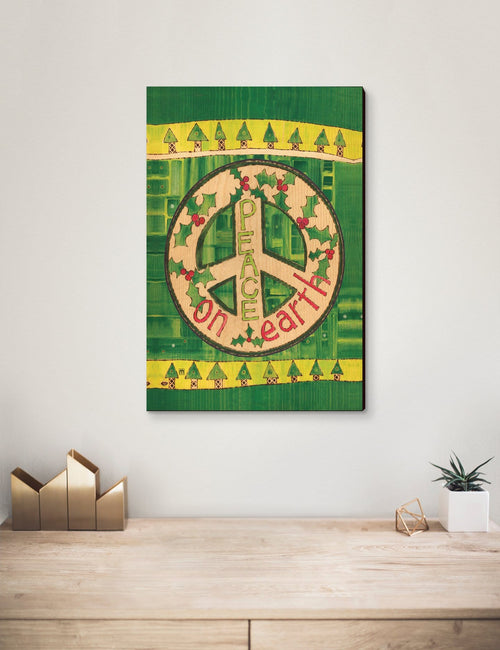 Solid Wood Wall Art - Painted Peace by Stephanie Burgess' Green Peace - 12x18 DaydreamHQ Pine Wall Art 12x18