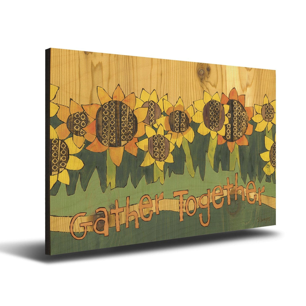 Solid Wood Wall Art - Painted Peace by Stephanie Burgess' Gather Together - 12x18 DaydreamHQ Pine Wall Art 12x18