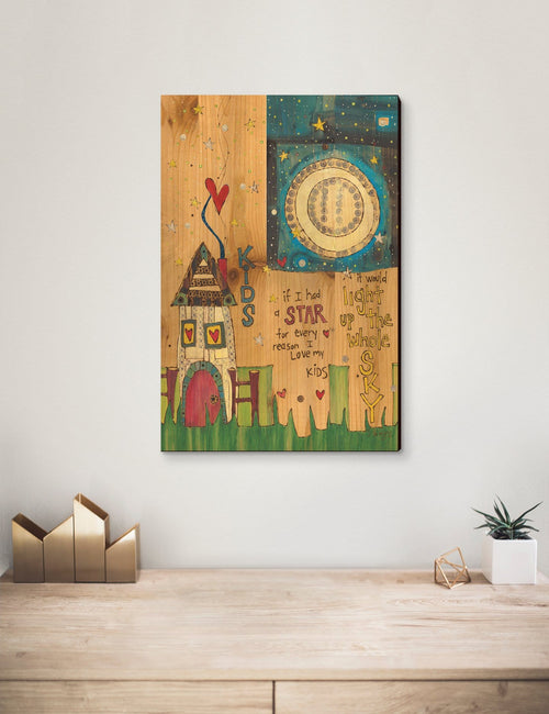 Solid Wood Wall Art - Painted Peace by Stephanie Burgess' Kids - 12x18 DaydreamHQ Pine Wall Art 12x18