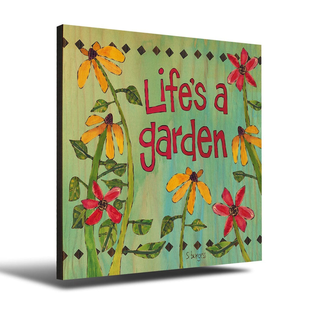 Solid Wood Wall Art - Painted Peace by Stephanie Burgess' Life A Garden - 12x12 DaydreamHQ Pine Wall Art 12x12