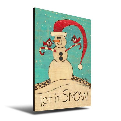 Solid Wood Wall Art - Painted Peace by Stephanie Burgess' Let It Snow - 12x18