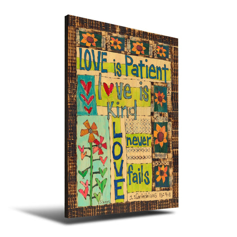 Solid Wood Wall Art - Painted Peace by Stephanie Burgess' Love Is Patient - 12x18