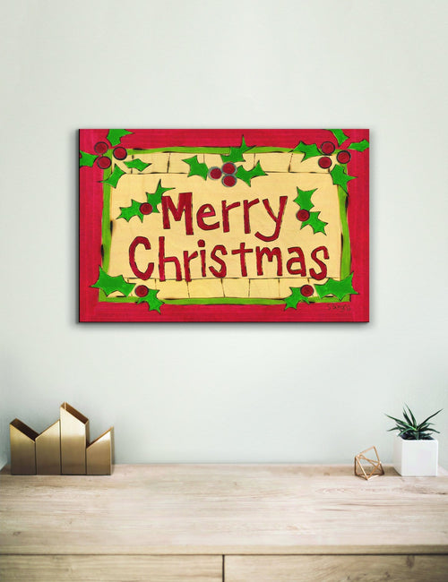 Solid Wood Wall Art - Painted Peace by Stephanie Burgess' Merry Christmas - 12x18 DaydreamHQ Pine Wall Art 12x18