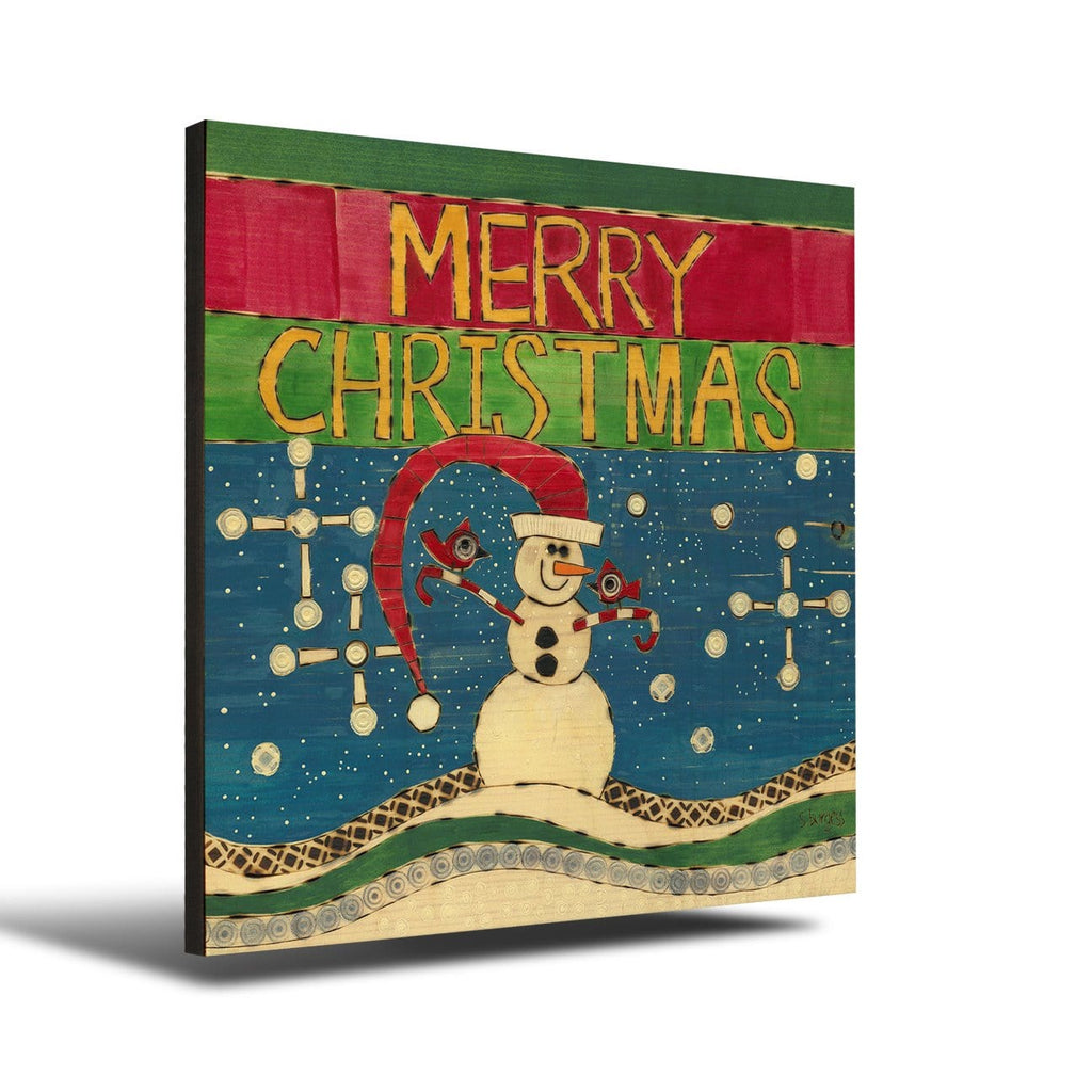 Solid Wood Wall Art - Painted Peace by Stephanie Burgess' Merry Christmas Snowman - 12x12 DaydreamHQ Pine Wall Art 12x12