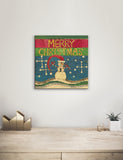 Solid Wood Wall Art - Painted Peace by Stephanie Burgess' Merry Christmas Snowman - 12x12