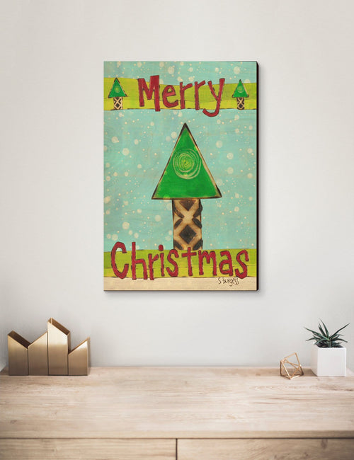 Solid Wood Wall Art - Painted Peace by Stephanie Burgess' Merry Christmas Tree - 12x18 DaydreamHQ Pine Wall Art 12x18