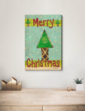 Solid Wood Wall Art - Painted Peace by Stephanie Burgess' Merry Christmas Tree - 12x18