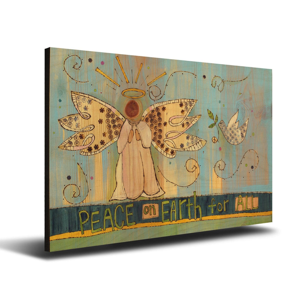 Solid Wood Wall Art - Painted Peace by Stephanie Burgess' Peace Angel - 12x18 DaydreamHQ Pine Wall Art 12x18