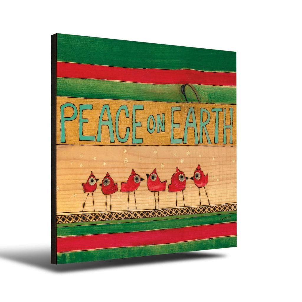 Solid Wood Wall Art - Painted Peace by Stephanie Burgess' Peace On Earth Birds - 12x12 DaydreamHQ Pine Wall Art 12x12